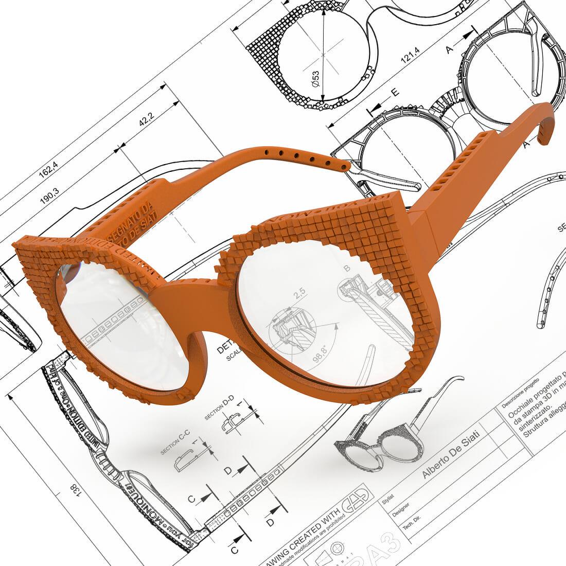 Occhiale Monique Stampa 3d R2.9 Design by Alberto De Siati